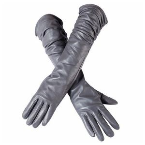 Accessories - Gray Leather Ruched Cashmere Lined Gloves C16